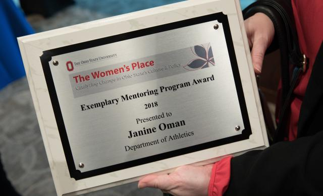 Award plaque for Janine Oman