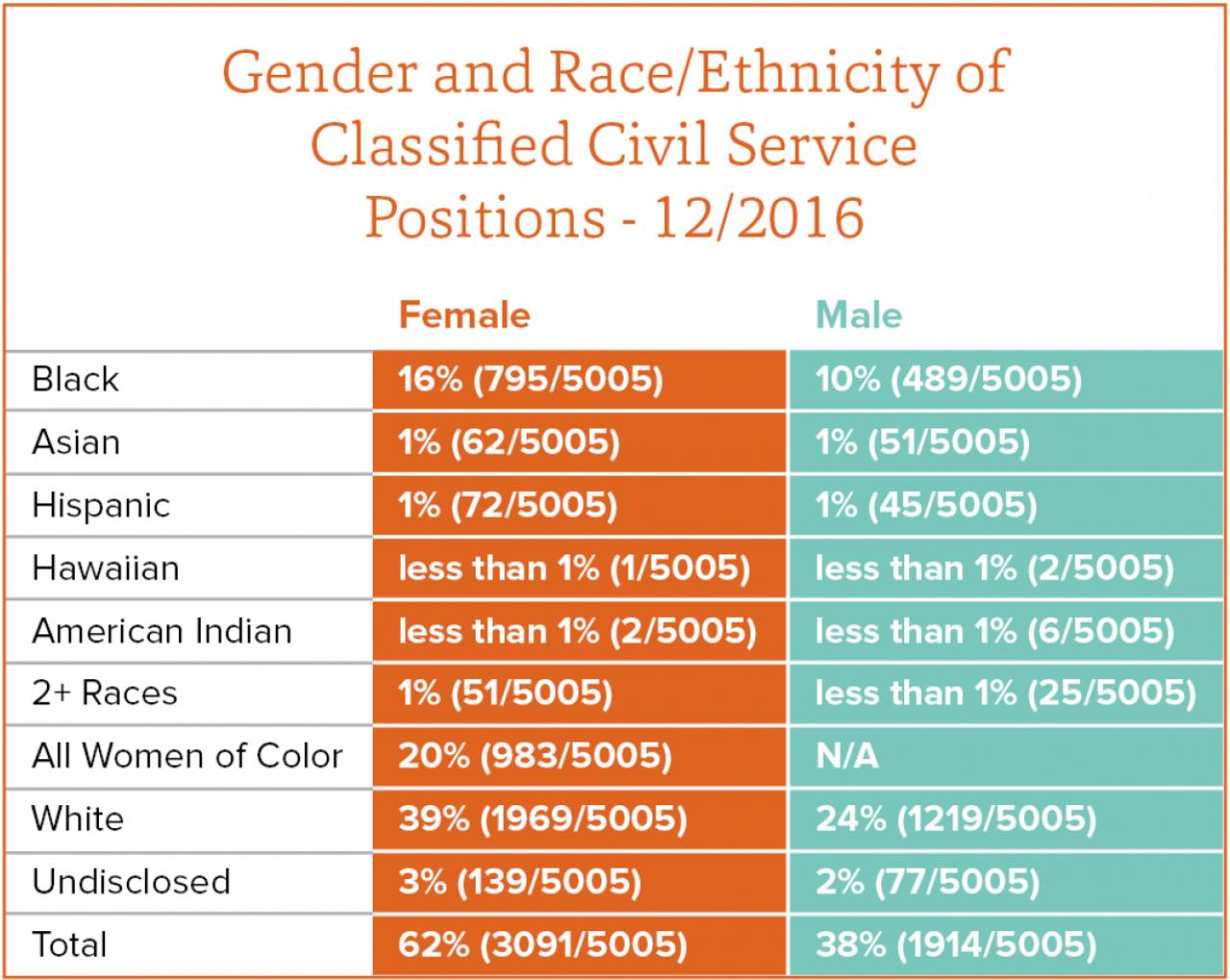 Gender and race ethnicity of classified civil service positions