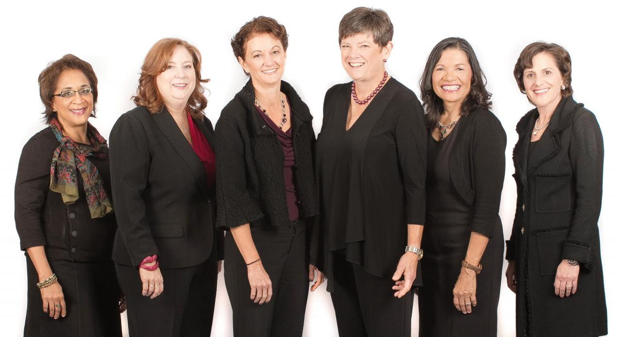 The six YWCA 2020 Women of Achievement pose standing in front of a white background