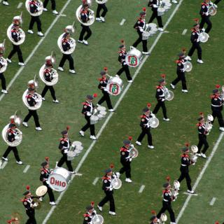 OSU Marching Band on the field from above