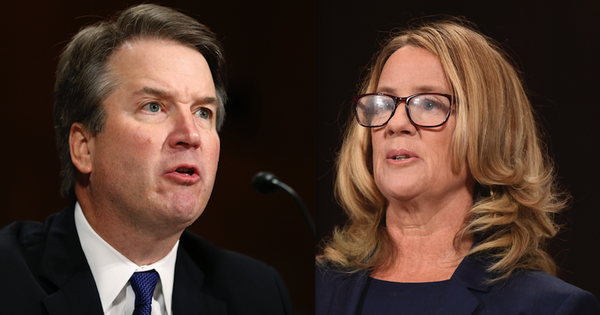 Images of Brett Kavanaugh and Christine Blasey Ford during senate hearings