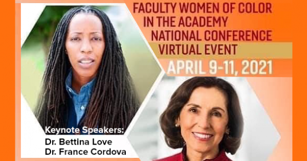 Graphic for the Virginia Tech Faculty and Women of Color in the Academy 2021 Conference featuring portraits of keynote speaker, Dr. Brettina Love and Dr. France Cordova